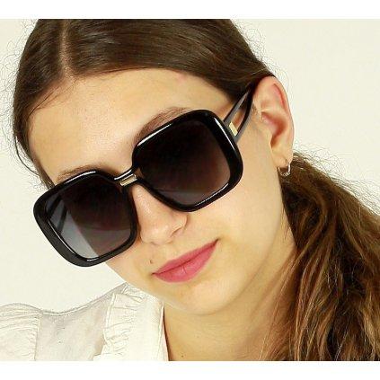 Luxusní černé sluneční brýle MAZZINI RETRO STAR