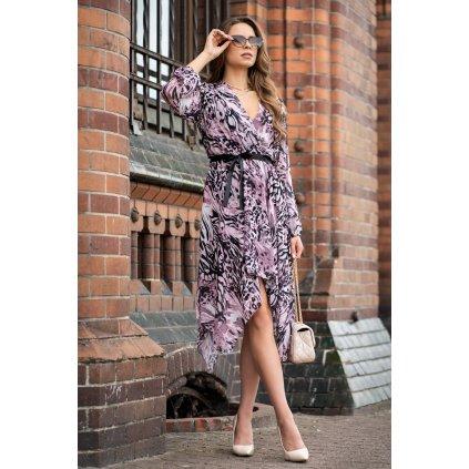Barevné letní šaty Suriani s výstřihem a volánkem MERRIBEL
