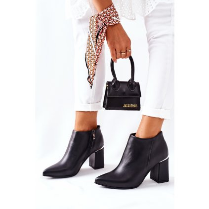 Kožené boty na podpatku Černé Raglan