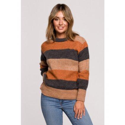 Vícebarevný svetr pruhovaný pulovr BeWear BK071