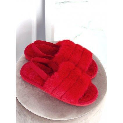 Červené dámské pantofle KL-16