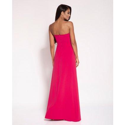 Elegantní dlouhé šaty Lorica bez ramínek s mašlí - Malinové M