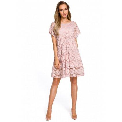 Šaty s květinovou krajkou panelové šaty M430 - RŮŽOVÉ L