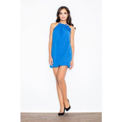 Tunikové šaty s výstřihem halter a volánky M065 FIGL Modré M