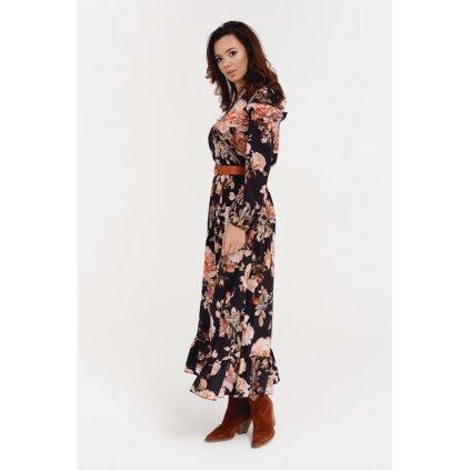 Květované letní šaty pod kolena s volánky 0282 S39
