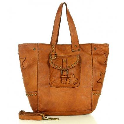 Originální kabelka shopper taška z pravé kůže s kapsou
