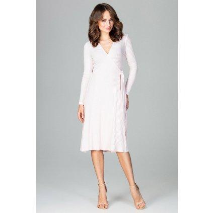 Klasické obálkové šaty K465 LENITIF - Růžové S