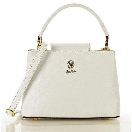 Značková kožená crossbody kabelka v bílé barvě