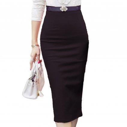 Dámská pouzdrová sukně s vysokým pasem - ČERNÁ XL
