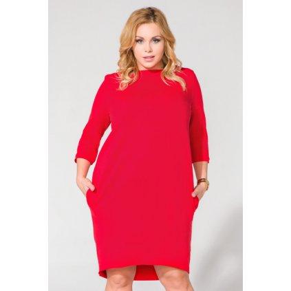 Elegantní šaty s kapsami T105 Plus size - ČERVENÉ 4XL