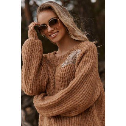Mohérový svetr s lesklou nášivkou S116 HNĚDÝ ONESIZE