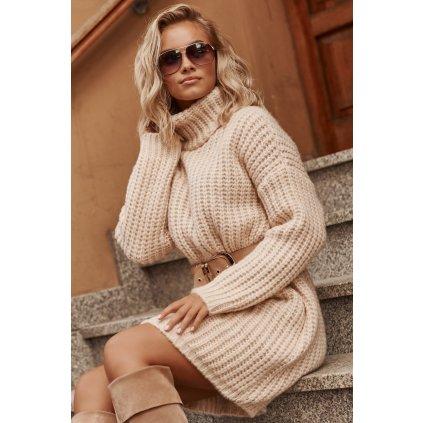 Vlněné mini šaty s rolákem zimní pletené šaty - BÉŽOVÉ