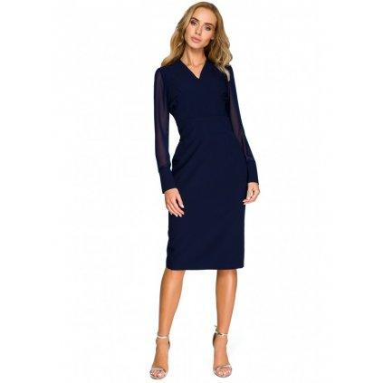 Elegantní společenské šaty se šifónovými rukávy S136 - L