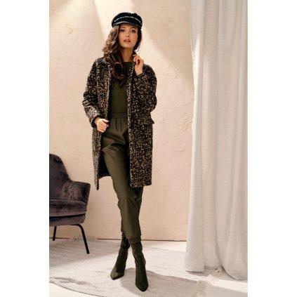 Jednořadý kabát dámský na knoflíky 0023 ROCO FASHION