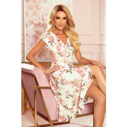 Obálkové šaty bez rukávů s volánky a květinami 349-1