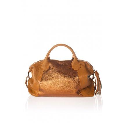 Dámská velká kožená taška VICTORIA laminované detaily