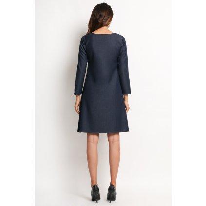 Volné lichoběžníkové šaty džínové s dlouhými Rukávy A114