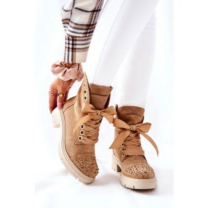 Semišové boty Lewski Shoes 3069 Pískové