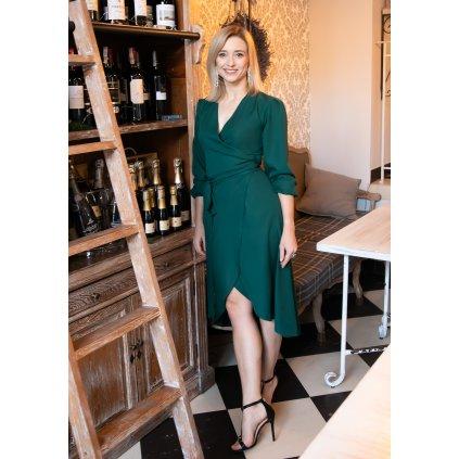 Asymetrické obálkové šaty SUK160 LANTI - ZELENÉ 2XL