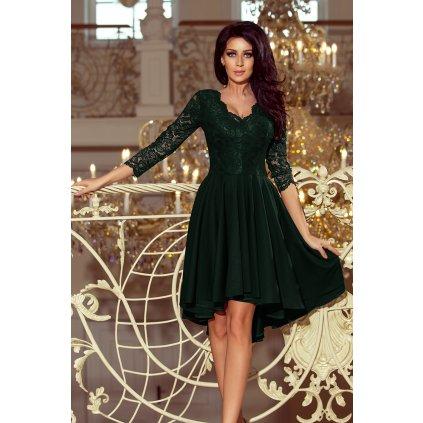Krajkové asymetrické šaty  NICOLLE 210-1 - ZELENÉ 2XL