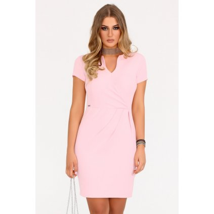 Business šaty do práce s krátkým rukávem a řasením - Růžové XXL