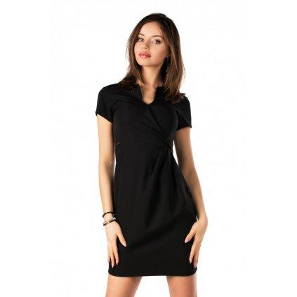 Business šaty do práce s krátkým rukávem - ČERNÉ 2XL