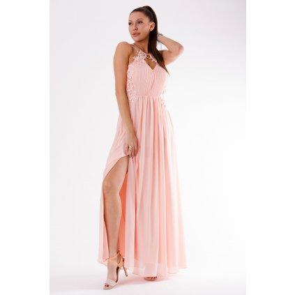 Plesové šaty bez rukávů s rozparkem na noze - Růžové S