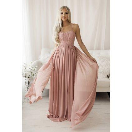 Maxi tylové šaty s vlečkou společenské na ramínka - RŮŽOVÉ L