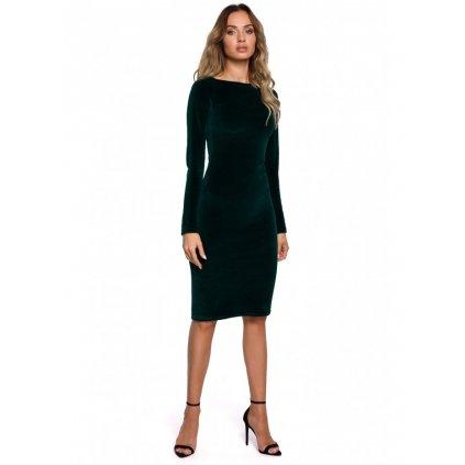 Sametové tužkové šaty MOE M565 - ZELENÉ 2XL