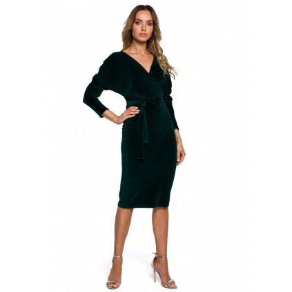 Sametové zavinovací šaty MOE M561 - ZELENÉ XL