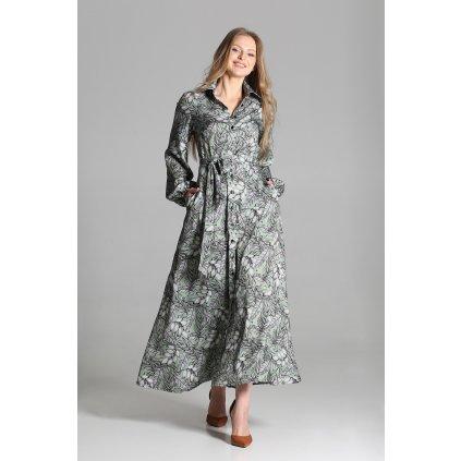 Maxi šaty na knoflíky s límečkem SUK204 LANTI