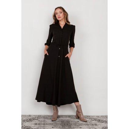 Dlouhé šaty košilové s 3/4 rukávy a stahovací šňůrkou SUK205
