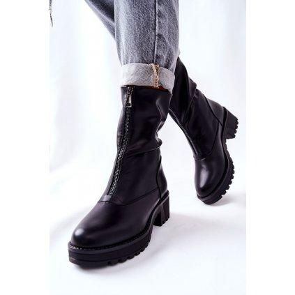 Kožené Boty Na Podpatku Černé Challonte