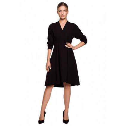 Asymetrické fit a rozšířené šaty STYLE S280 - ČERNÉ L