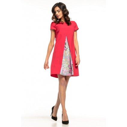 Šaty s řasením vpředu T262 TESSITA - MALINOVÉ 3XL