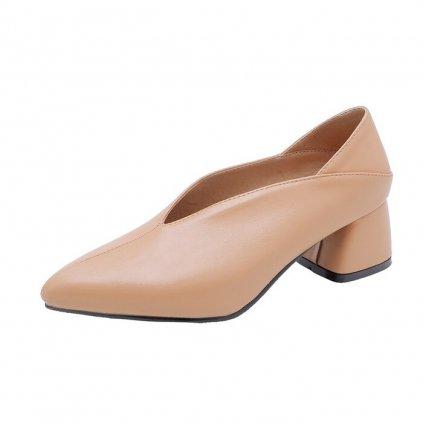 Kožené boty originální lodičky na hranatém podpatku 35 (16)