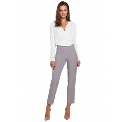 Elegantní Kalhoty s elastickým pasem K035 - ŠEDÉ M