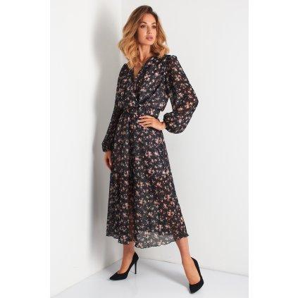 Obálkové květované šaty s přídavkem hedvábí N104