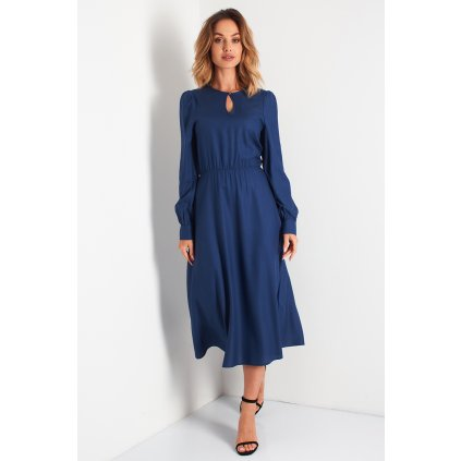 Elegantní maxi šaty se slzou na výstřihu N105A LEMONIADE