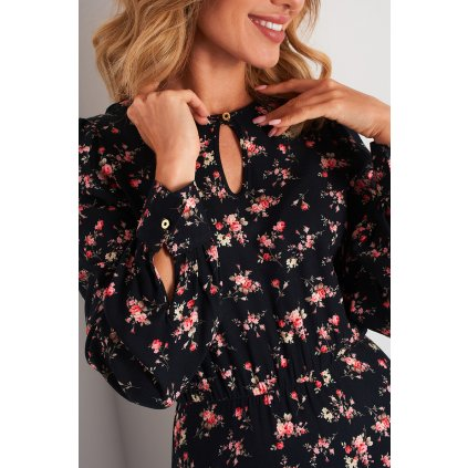 Květované šaty maxi se slzou na výstřihu N105B LEMONIADE