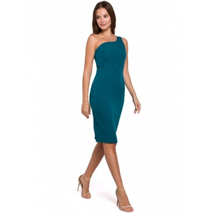 Přiléhavé šaty midi na jedno rameno K003 - MODRÉ S