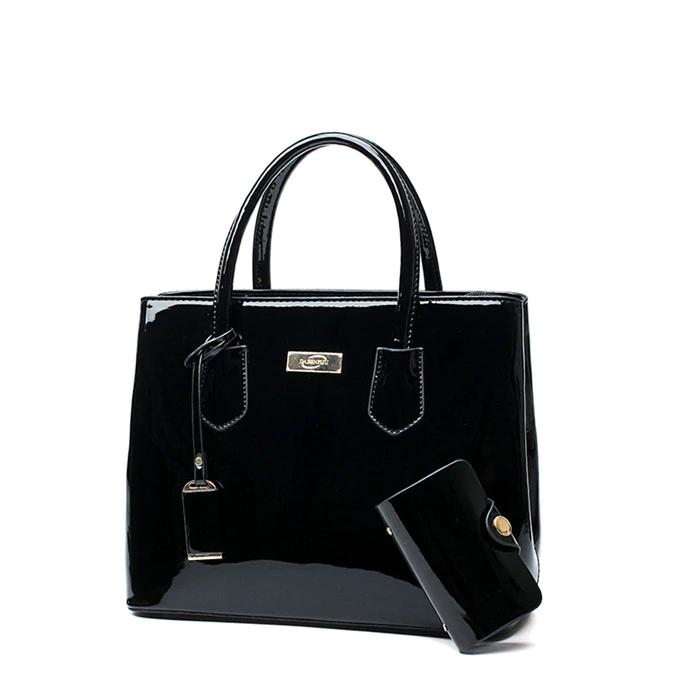 Lakovaná kabelka pro dámy 2v1 kabelka + pouzdro na telefon Barva: Černá