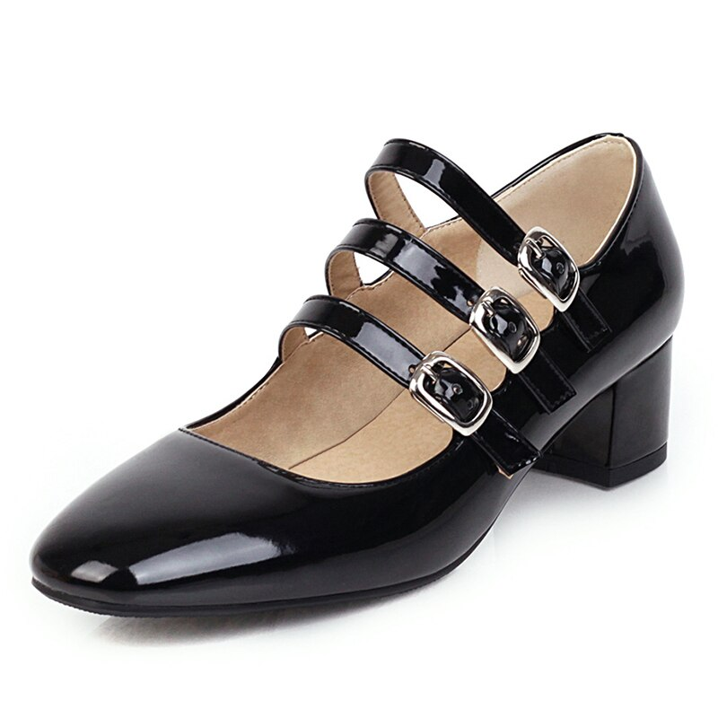 Kožené lodičky páskové lakované boty na podpatku - 39 Barva: Černá, Velikost: 40