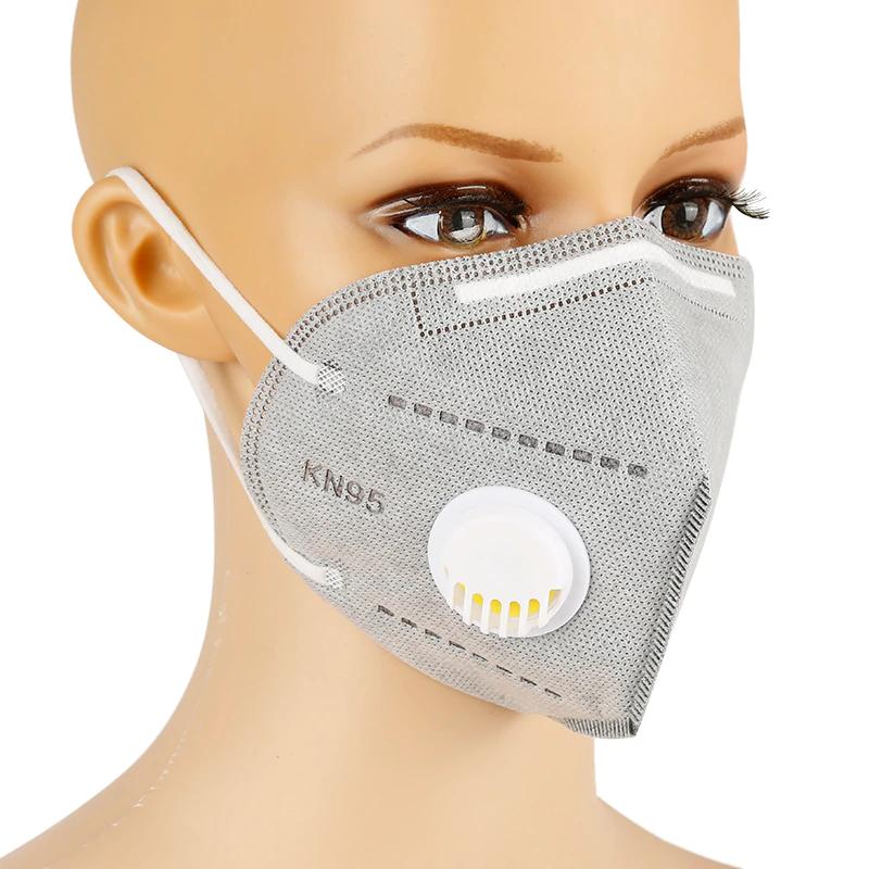 Respirační rouška s filtrem KN95 Solight respirátor s ventilem FFP2 Barva: Šedá