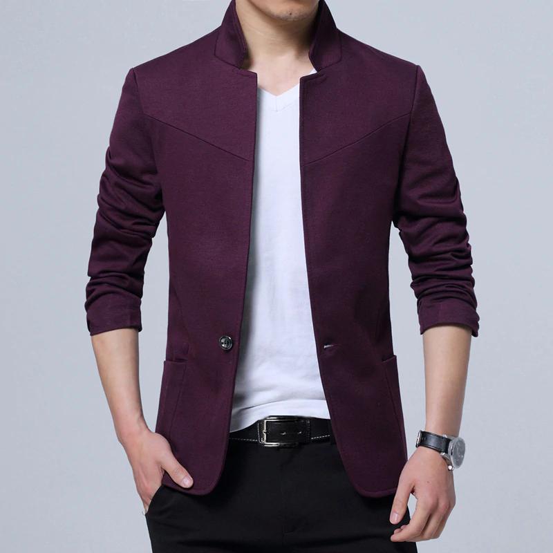 Pánské sako se stojatým límcem elegantní sako různých barev Barva: Bordová, Velikost: 4XL