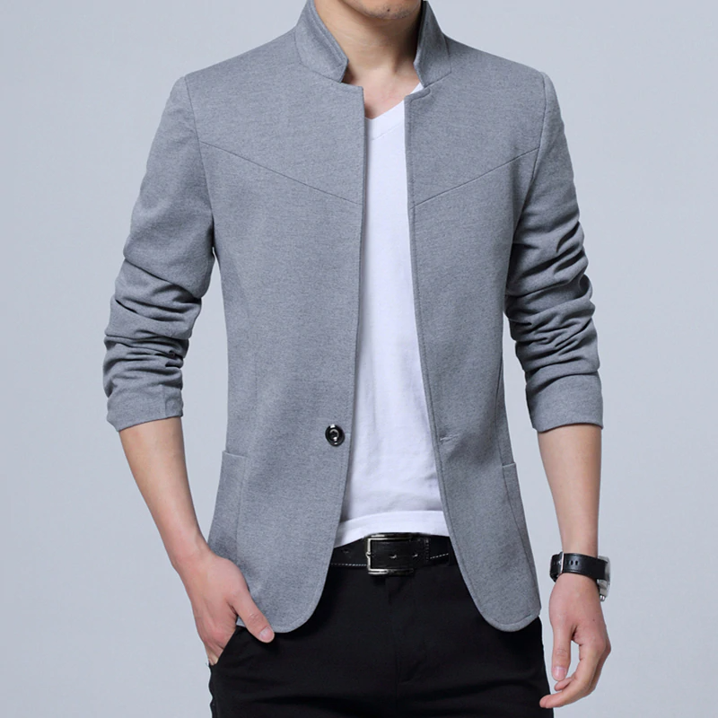 Pánské sako se stojatým límcem elegantní sako různých barev Barva: Šedá, Velikost: M