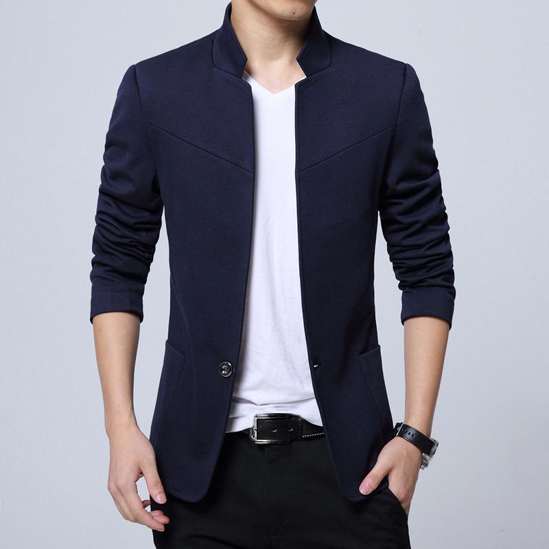 Pánské sako se stojatým límcem elegantní sako různých barev Barva: Modrá, Velikost: M