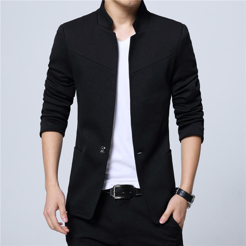 Pánské sako se stojatým límcem elegantní sako různých barev Barva: Černá, Velikost: M