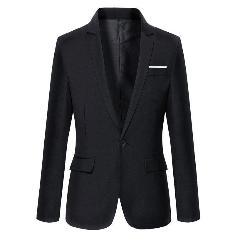 Vypasované sako do práce stylová blejzr na jeden knoflík Barva: Černá, Velikost: XL