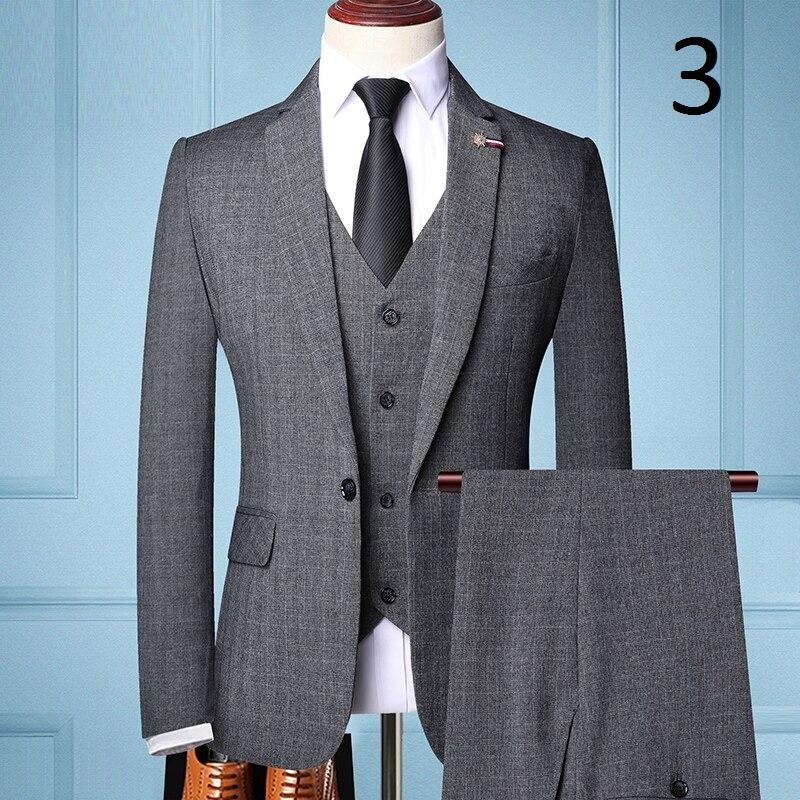 Pánský oblek vesta sako a kalhoty šedé barvy Barva: Tmavě Šedá, Velikost: XS